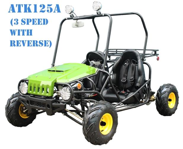 125 cc ; 3 SPEED SEMI AUTOMATIC TRANSMISSION W/REVERSE ;TWO SEAT
